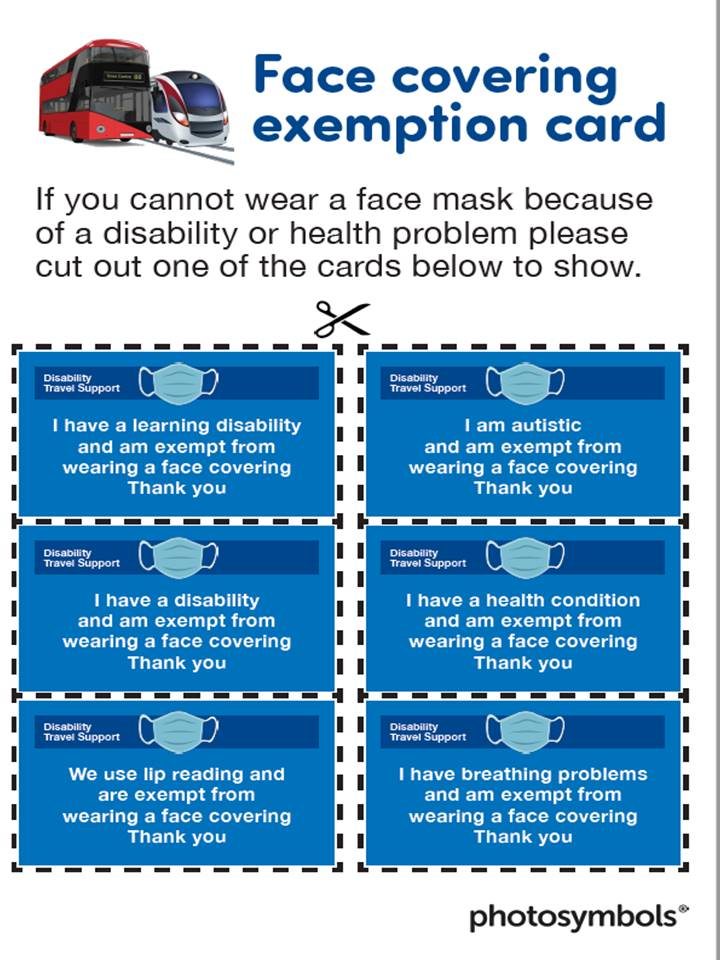 Face Covering Exemption card